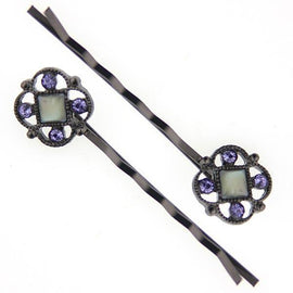 Black-Tone Mother of Pearl Bobby Pins with Swarovski Crystal