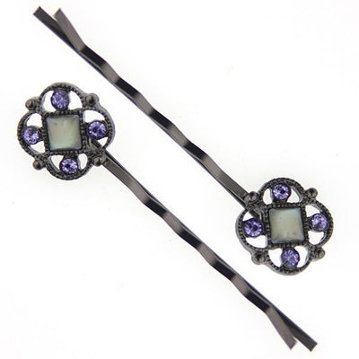 Black-Tone Costume Mother Of Pearl Bobby Pins with Tanzanite Color Swarovski Crystals