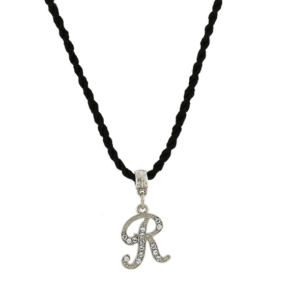 1928 Jewelry: 1928 Jewelry - Black Chord Silver-Tone Crystal Initial  R  Necklace  14 Adj.