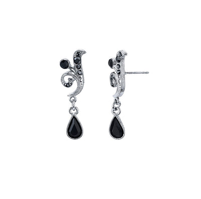 Silver-Tone Black And Hematite Color Crystal Vine Drop Earrings