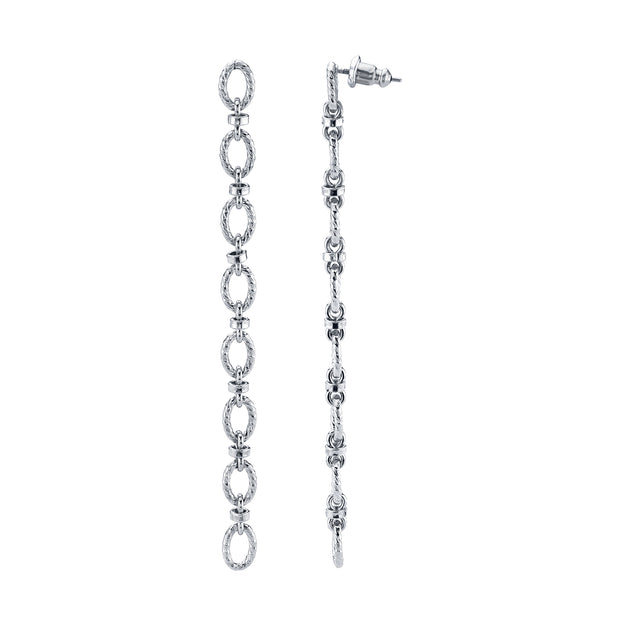 Modern Linear Cable Chain Earrings Rose Gold