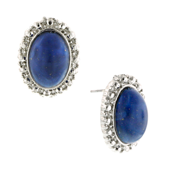 Silver-Tone Blue Oval Button Earrings