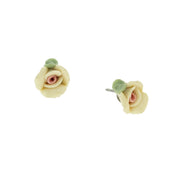 Sweet Rose Porcelain Rose Stud Earrings PINK