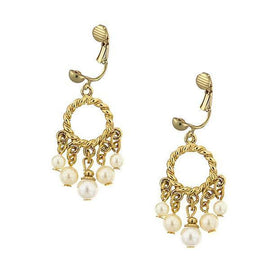 Gold-tone Simulated Pearl Clip Earrings
