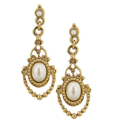Gold Tone  Costume Pearl Drop Earrings