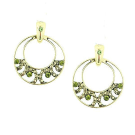 Fashion Jewelry - Gold Tone Peridot Green Color Hoop Earrings