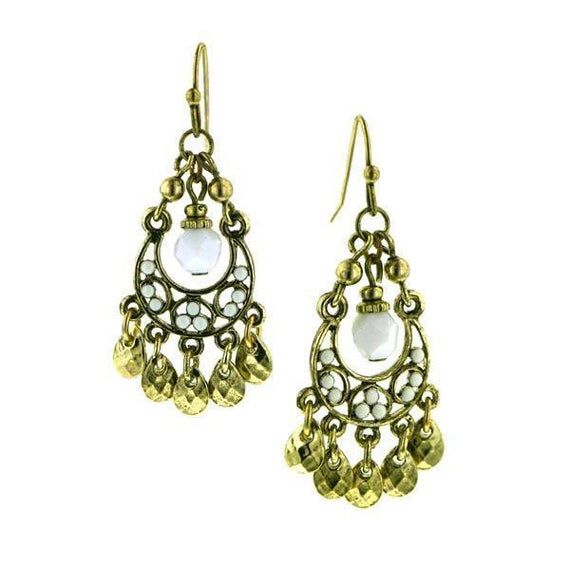 Gold-Tone White Enamel Chandelier Drop Earrings