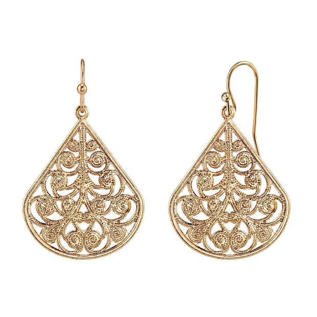 Filigree Vine Teardrop Earrings gold tone