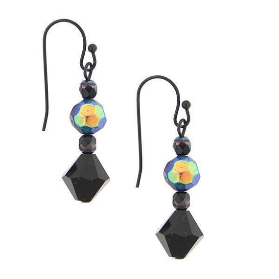 Black-Tone with Black AB Beaded Drop Wire Earrings