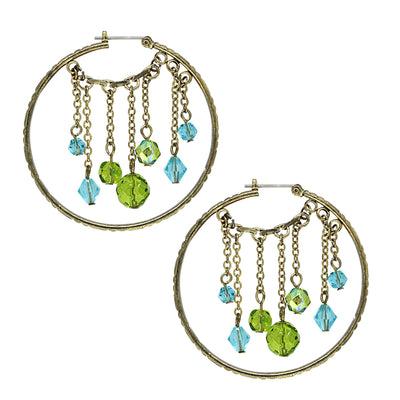 Gold Tone Olivine Green Color And Blue Hoop Earrings