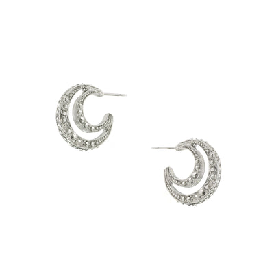 Silver-Tone Moon Hoop Earrings