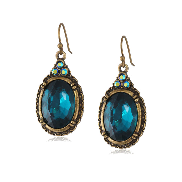 Burnished Brass Tone Oval Blue Zircon Color & Ab Crystal Accent Oval Drop Wire Earrings
