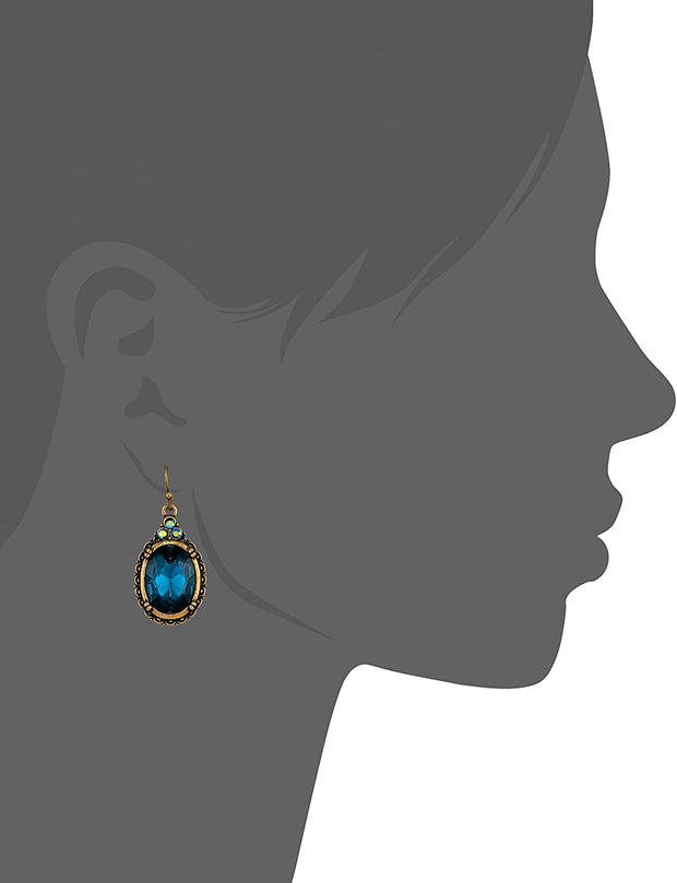 Antiqued Gold Tone Blue Oval Drop Wire Earrings