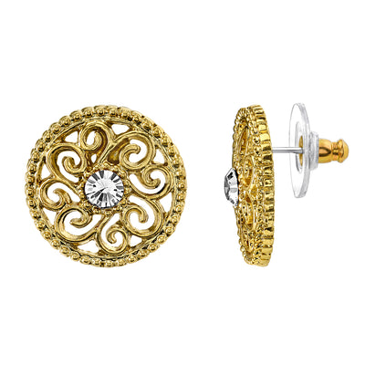 Gold Tone Crystal Open Lattice Button Earrings