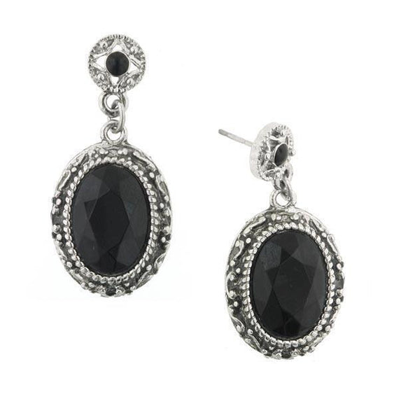 Silver-Tone Antique Encounter Oval Black Stone Drop Earrings