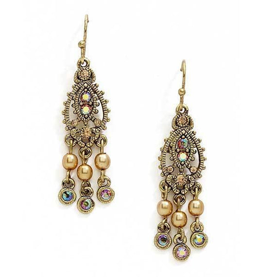 Fashion Jewelry - Gold Tone Light Brown AB Chandelier Earrings
