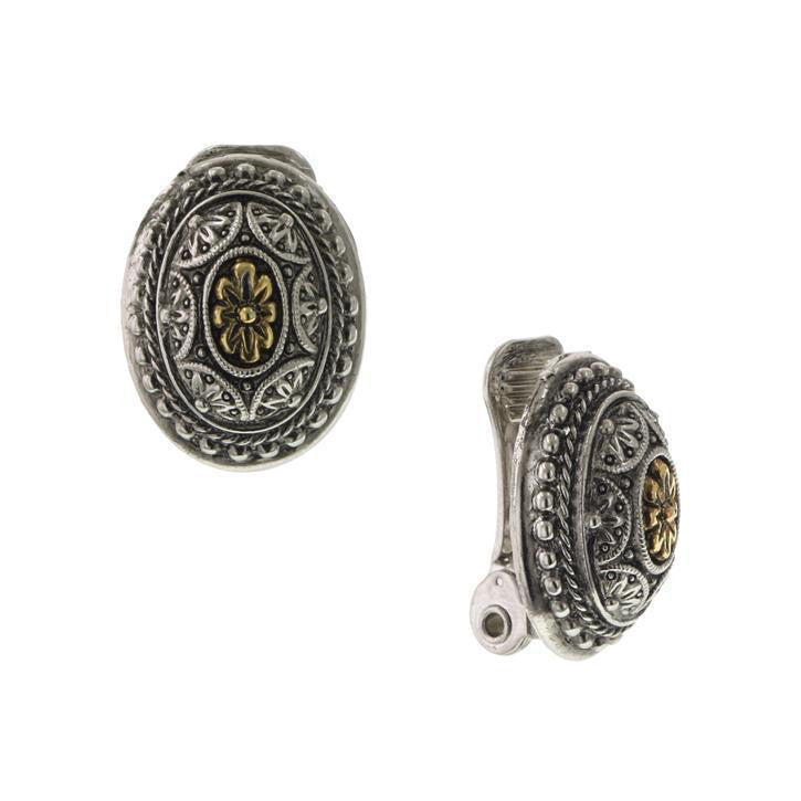 Silver-Tone and Brass Oval Clip Earrings