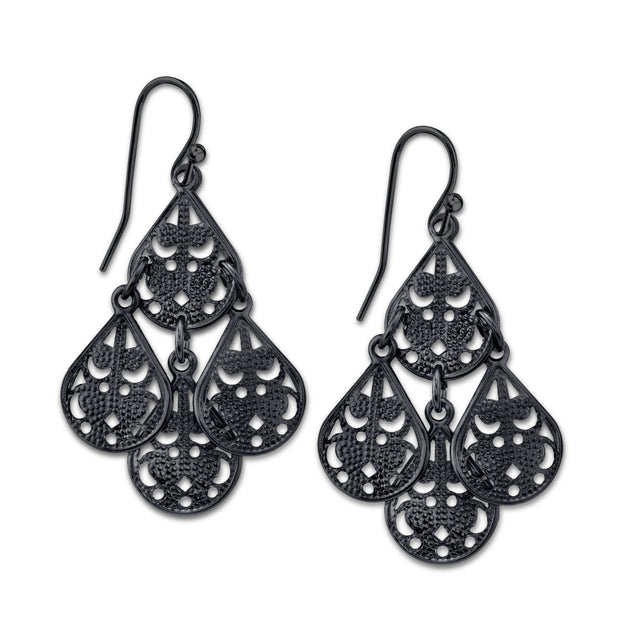 Black-Tone Pear Shaped Filigree Drop Earrings