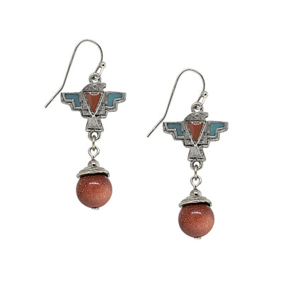 Pewter Genuine Sandstone Thunderbird Drop Earring