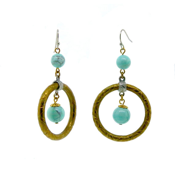 Brass Genuine Dyed Howlite Turquoise Color Hoop Ears