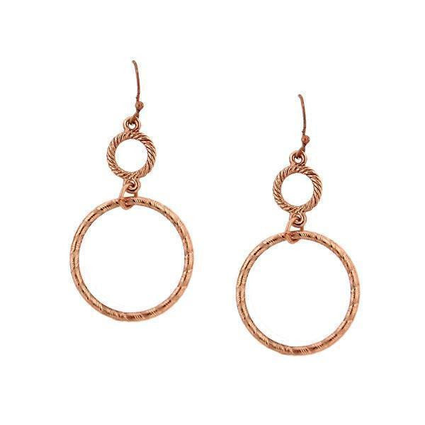 Copper Double Hoop Wire Earrings