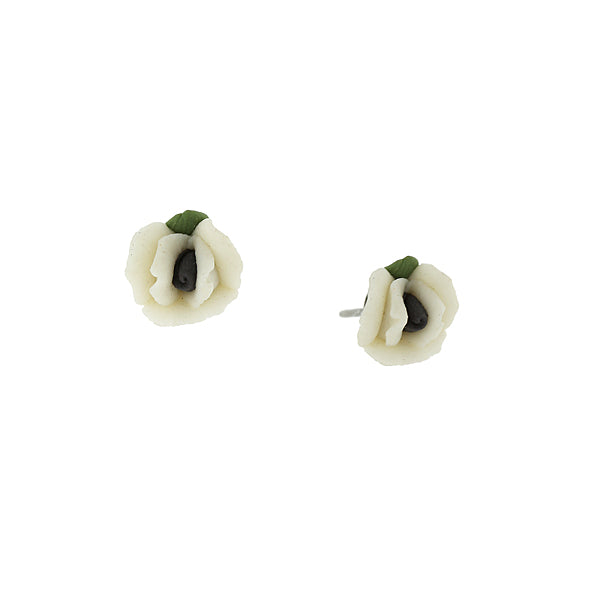 Sweet Rose Porcelain Rose Stud Earrings PURPLE