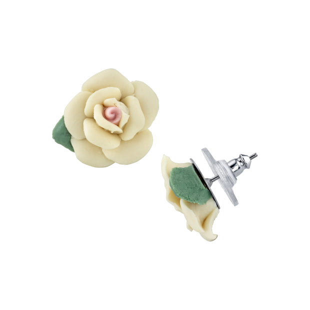 1928 Jewelry Silver-Tone Large Porcelain Rose Earrings