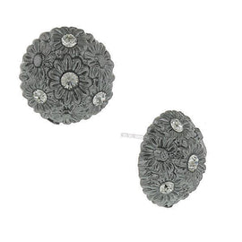 Fashion Jewelry - Jet Black Round Floral Crystal Button Earrings