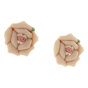 Silver Tone Large Porcelain Rose Earrings