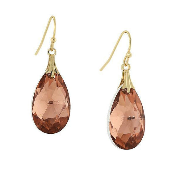 Fashion Jewelry - Gold Tone light Peach Teardrop Earrings