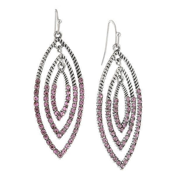 Silver-Tone Light Amethyst Crystal Drop Earrings