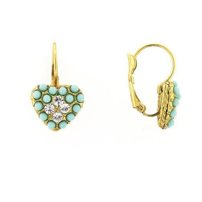 Gold Tone Crystal And Blue Heart Leverback Earrings
