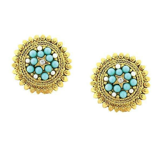 Gold-Tone Crystal and Blue Cultura Pearl Button Clip Earrings