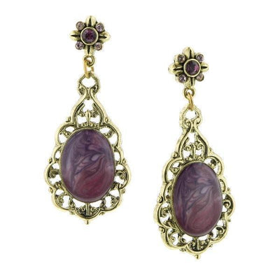 Gold Tone Purple Oval Drop Earrings
