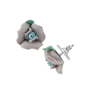1928 Jewelry Silver-Tone Large Porcelain Rose Post Earrings