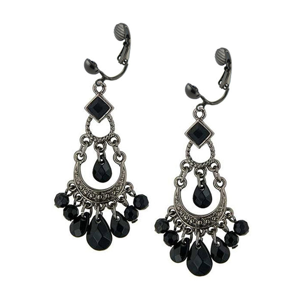 Jet Tone With Black Beads Chandelier Clip Earrings