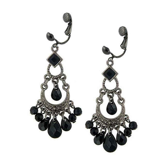 Black Chandelier Clip On Earrings