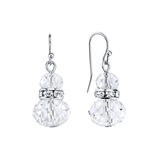 Silver Tone Crystal Beaded Drop Earrings
