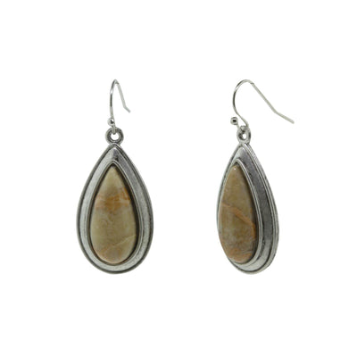 Pewter Genuine River Stone Teardrop Earrings