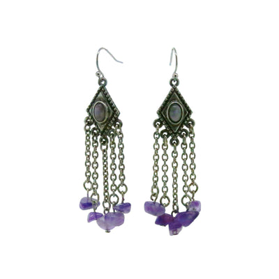 Pewter Genuine Amethyst Stone Drop Earrings