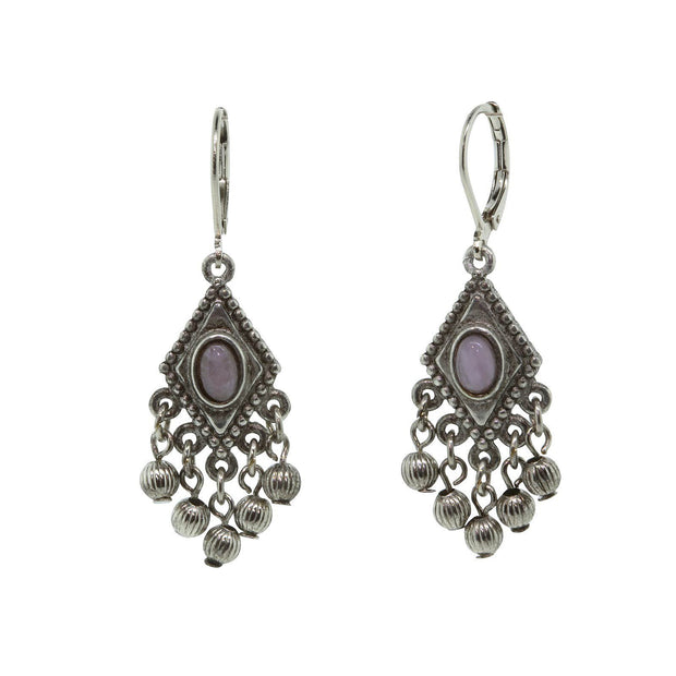 Pewter Genuine Amethyst Beaded Drop Earring