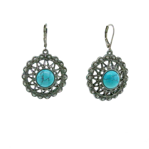 Pewter Genuine Howline Dyed Turq. Round Earring