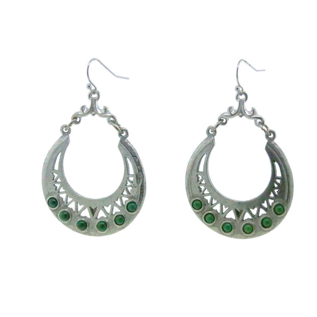Pewter Genuine Green Malachite Hoops Ear