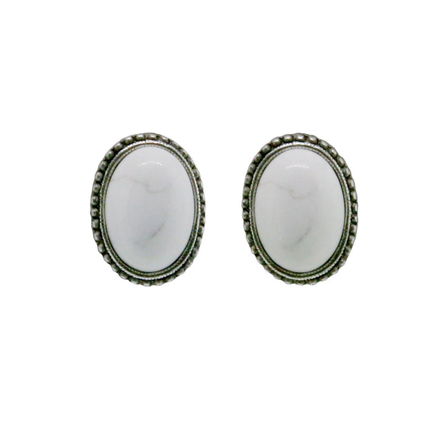 Pewter Genuine White Howlite Oval Earring