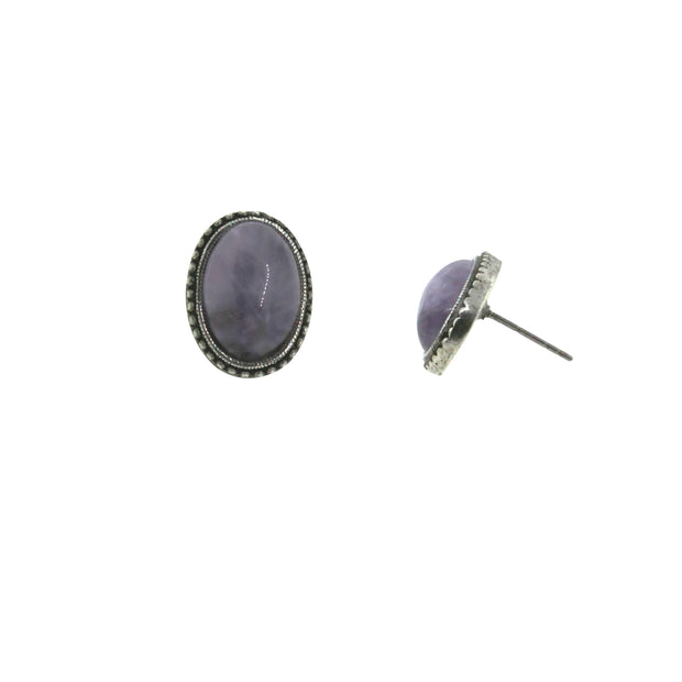Pewter Genuine Lavender Quartz Oval Earring