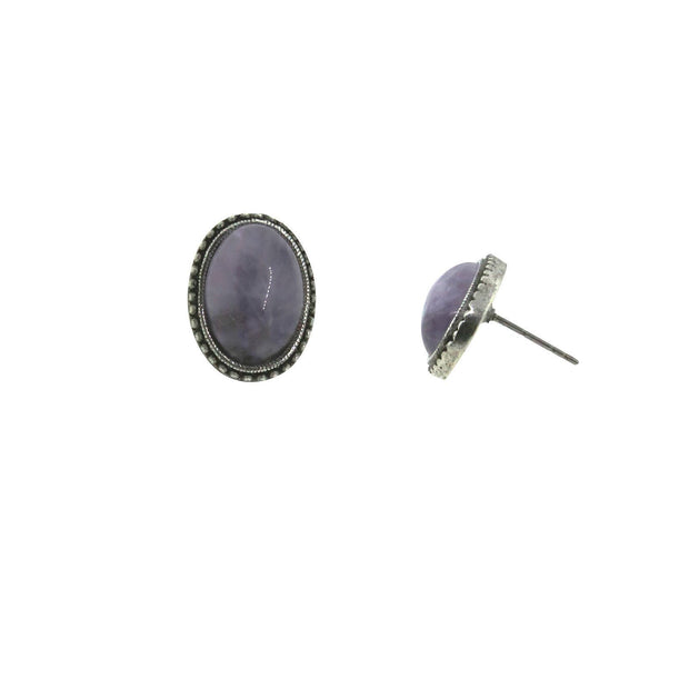 Pewter Genuine Lavender Quartz Oval Ear