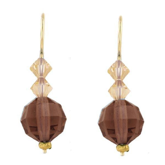 Gold Tone Topaz Color and Light Colorado Small Drop Earrings