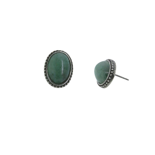 Pewter Genuine Aventurine  Oval Earring