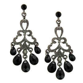 Black-Tone Black Drops Chandelier Earrings