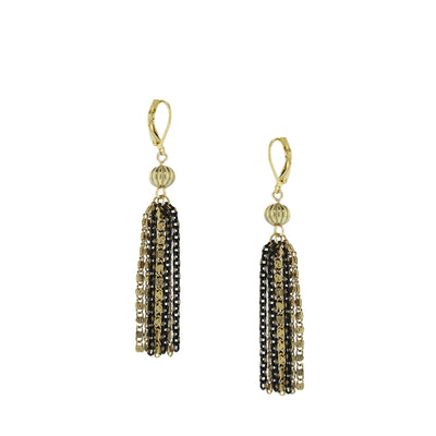 14K Gold Dipped And Black Tone Long Tassel Earring